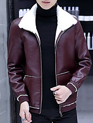 cheap -Men's Daily Regular Leather Jacket, Solid Colored Shirt Collar Long Sleeve PU Black / Wine / Light Brown
