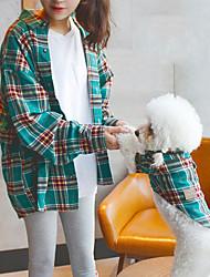 cheap -Dog Costume T-shirts Matching Outfits Dog Clothes Breathable Yellow Green Costume Corgi Bichon Frise Schnauzer Cotton Color Block Plaid / Check Spots & Checks Casual / Sporty Women M Men M XS S M L