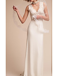 cheap -Sheath / Column V Neck Court Train Lace Regular Straps Country Wedding Dresses with Lace Insert / Appliques 2020