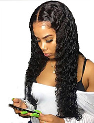 cheap -Human Hair Lace Front Wig Free Part style Brazilian Hair Curly Black Wig 130% Density with Baby Hair Natural Hairline For Black Women 100% Virgin 100% Hand Tied Women's Long Human Hair Lace Wig