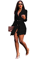 cheap -Women's Blazer Notch Lapel Polyester Black