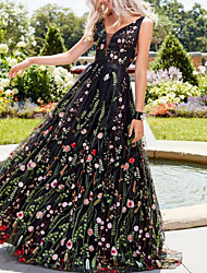 cheap -A-Line V Neck Floor Length Polyester Floral Engagement / Prom / Wedding Guest Dress with Appliques 2020