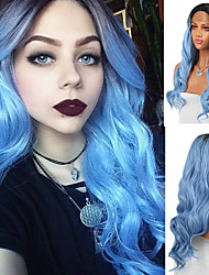 cheap -Synthetic Lace Front Wig Body Wave Middle Part Lace Front Wig Long Black / Blue Synthetic Hair 18-26 inch Women's Heat Resistant Synthetic Easy dressing Blue Ombre / Natural Hairline