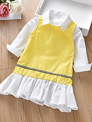 cheap -Kids Girls' Basic Boho Birthday Party Dress Solid Colored Ruffle Sleeveless Long Sleeve Regular Regular Clothing Set Yellow