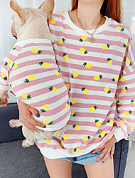 cheap -Dog Costume Sweatshirt Matching Outfits Striped Fruit Casual / Sporty Cute Sports Casual / Daily Dog Clothes Breathable Pink Green Gray Costume Cotton Women M S M L XL XXL