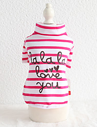 cheap -Dog Shirt / T-Shirt Stripes Quotes & Sayings Casual / Sporty Cute Sports Casual / Daily Dog Clothes Puppy Clothes Dog Outfits Warm Yellow Fuchsia Green Costume for Girl and Boy Dog Cotton XS S M L XL