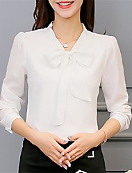 Недорогие -Жен. Однотонный Белый Шнуровка Рубашка Элегантный стиль Офис V-образный вырез Белый / Розовый
