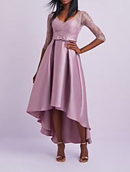 cheap -A-Line V Neck Asymmetrical Lace / Satin Half Sleeve Elegant Mother of the Bride Dress with Ruching 2020