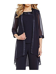 cheap -3/4 Length Sleeve Coats / Jackets Chiffon Wedding Women's Wrap With Splicing