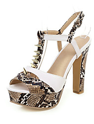 cheap -Women's Sandals Print Shoes Chunky Heel Peep Toe Rivet / Buckle PU Summer Gold / Silver / Brown / Party & Evening / Party & Evening
