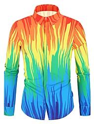 cheap -Men's Color Block Rainbow Print Shirt Daily Classic Collar Orange / Spring / Fall / Long Sleeve