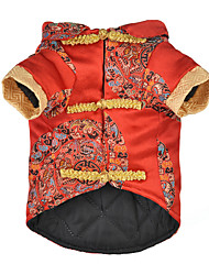 cheap -Dog Cat Vest Winter Dog Clothes Red Costume Husky Labrador Alaskan Malamute Polyester Cotton Vintage Embroidered Retro Vintage Special XS S M L XL