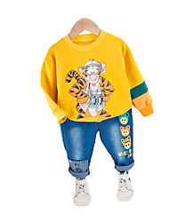 cheap -Baby Boys' Casual Tiger Print Patchwork / Print Long Sleeve Long Regular Clothing Set White