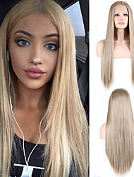 cheap -Synthetic Lace Front Wig Natural Straight Silky Straight Middle Part Lace Front Wig Long Golden Blonde Synthetic Hair 18-24 inch Women's Cosplay Heat Resistant Party Blonde