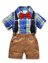 cheap -Kids Boys' Basic Christmas Home Deer Color Block Print Short Sleeve Regular Regular Clothing Set Navy Blue