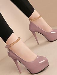 cheap -Women's Heels Stiletto Heel Round Toe PU Booties / Ankle Boots Winter Black / White / Pink