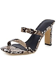cheap -Women's Sandals Print Shoes Chunky Heel Square Toe PU Casual Summer Dark Brown / Pink / Gold