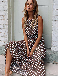 cheap -Women's Swing Dress Maxi long Dress Black Yellow Navy Blue Khaki Green Sleeveless Polka Dot Spring & Summer Round Neck Hot Elegant 2021 S M L XL XXL