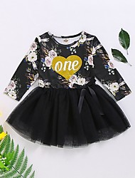 cheap -Baby Girls' Basic Floral Long Sleeve Dress Black