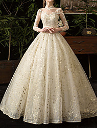 cheap -A-Line Wedding Dresses Jewel Neck Floor Length Lace Tulle Long Sleeve Formal Plus Size Illusion Sleeve with Lace Insert 2021