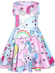 cheap -Kids Little Girls' Dress Floral Unicorn Animal Blushing Pink Dresses