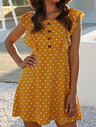 cheap -Women's / Ladies 2020 Date Street Trendy Sleeveless A Line Dress - Other Printing Square Neck Spring & Summer Yellow S M L XL Belt Not Included