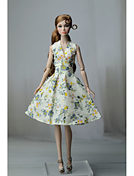 cheap -Doll Dress Dresses For Barbiedoll Floral Flower / Floral Floral Botanical Blue Cloth Cotton Cloth Non-woven Dress For Girl's Doll Toy