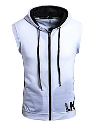 cheap -Men's Hoodies & Sweatshirts Geometric Sleeveless Daily Tops Basic White Black Light gray