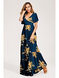 cheap -Women's Swing Dress - Print Purple Maxi Blue Royal Blue S M L XL