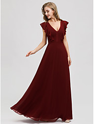 cheap -A-Line Plunging Neck Floor Length Chiffon Bridesmaid Dress with Ruching / Butterfly Sleeve / Open Back