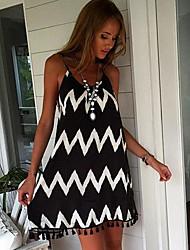 cheap -Women's Black Dress Elegant Sheath Geometric Strap S M Slim