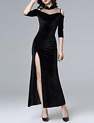 cheap -Sheath / Column High Neck Floor Length Polyester Elegant Formal Evening / Party Wear Dress 2020 with Split