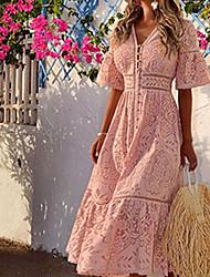 cheap -Women's Sheath Dress - Half Sleeve Solid Color V Neck White Blushing Pink S M L XL
