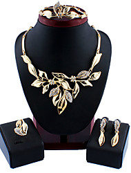 cheap -Women's Gold Hoop Earrings Necklace Bracelet Classic Leaf Stylish Basic Africa Earrings Jewelry Gold For Wedding Party Engagement Four-piece Suit / Bridal Jewelry Sets / Open Ring