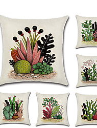 cheap -Set of 6 Linen Pillow Cover Holiday Rustic Pastoral Cactus Throw Pillow 45*45 cm