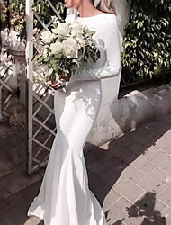 cheap -Mermaid / Trumpet Jewel Neck Sweep / Brush Train Satin Cap Sleeve Formal Plus Size Wedding Dresses with Draping 2020