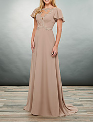 cheap -A-Line Jewel Neck Floor Length Polyester Short Sleeve Elegant Mother of the Bride Dress with Appliques / Ruching 2020