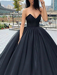 cheap -Ball Gown Wedding Dresses Strapless V Neck Floor Length Tulle Polyester Strapless Sexy Plus Size with 2020