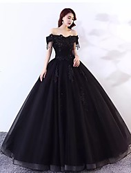 cheap -Ball Gown Wedding Dresses Off Shoulder Floor Length Lace Tulle Short Sleeve Sexy Black Modern with Lace Appliques 2020