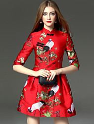 cheap -Adults' Women's Designed in China Chinese Style Wasp-Waisted Chinese Style Cheongsam Qipao For Performance Engagement Party Bridal Shower Polyster Above Knee Cheongsam / Summer