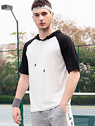 cheap -Men's Women's Color Block T-shirt Daily Hooded White / Black / Yellow / Khaki / Short Sleeve
