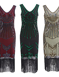 cheap -The Great Gatsby Retro Vintage 1920s Summer Flapper Dress Dress Women's Sequins Tassel Fringe Sequin Costume Green / Red / Apricot Vintage Cosplay Event / Party Sleeveless Knee Length