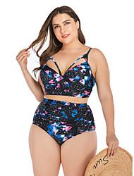 cheap -Women's Black Bikini Swimwear Swimsuit - Geometric L XL XXL Black