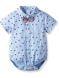 cheap -Baby Boys' Basic Print Print Short Sleeves Bodysuit Blue