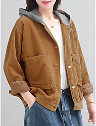 cheap -Women's Daily Winter Regular Coat, Solid Colored Hooded Long Sleeve Polyester Brown