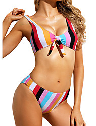 cheap -Women's Basic Rainbow Halter Cheeky Bikini Swimwear - Striped Print S M L Rainbow