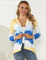 cheap -Women's Solid Colored Long Sleeve Cardigan Sweater Jumper, V Neck Blue / Light gray S / M / L