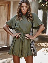 cheap -Women's Basic Black Orange Army Green Romper Onesie, Solid Colored S M L