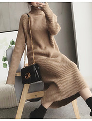 cheap -Women's Elegant Sheath Dress - Solid Colored Black Camel Dark Gray One-Size