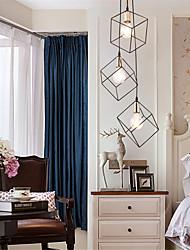 cheap -3-Light 3-Head Vintage Black Metal Cage Loft Mini Pendant Lights Modern Living Room Dining Room Hallway Light Fixture